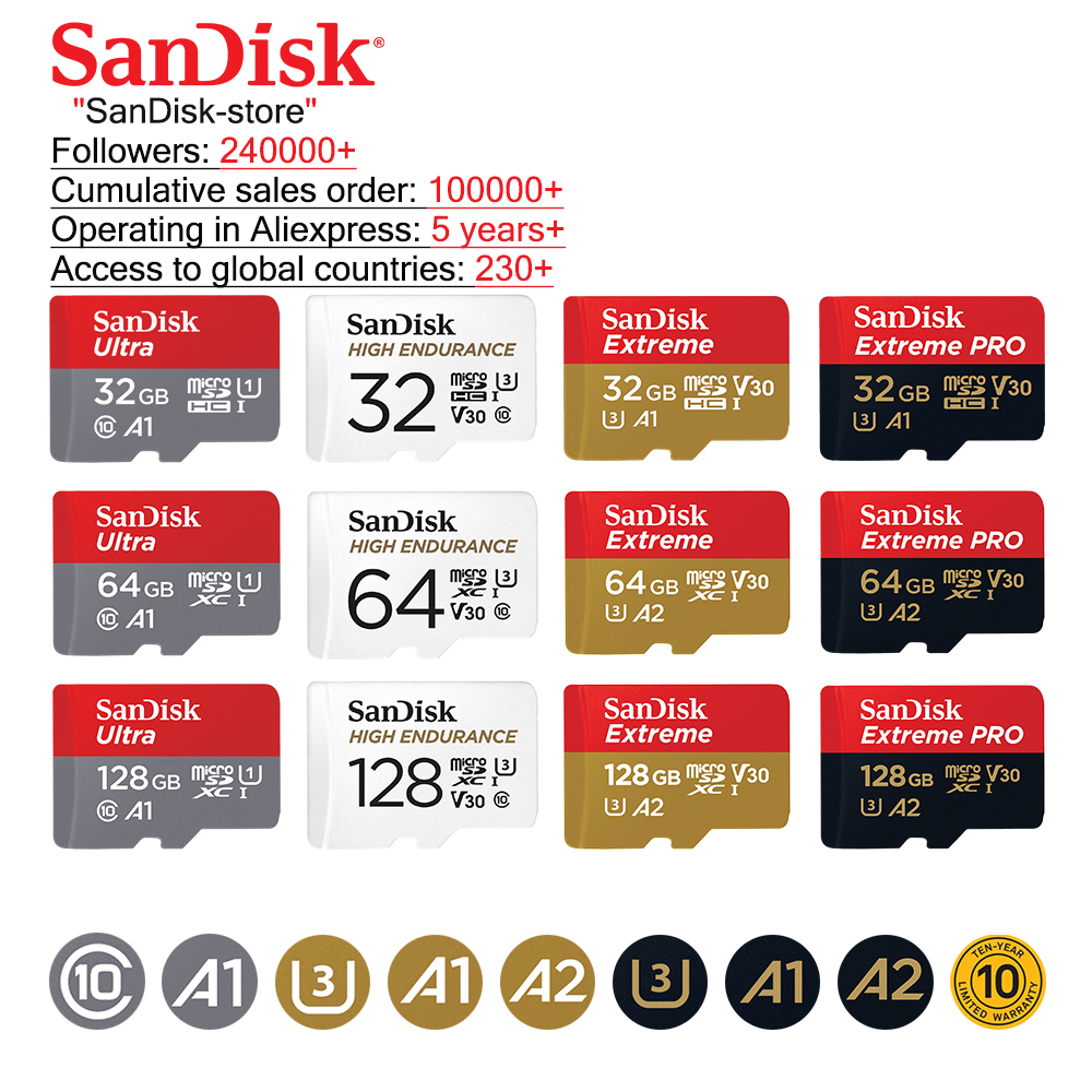 Sandisk 100% Original Microsd Card Memory Card TF Card  Class10 U1 U3 16GB 32GB 64GB 128GB cartao de memoria 10 year warranty