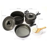 Tableware Outdoor Camping Picnic Tableware Aluminum Alloy Cookware Pots Frying Pan Bowl Set For Outdoor Travel