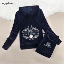 Spring /Fall / 2017 Women's Brand Velvet fabric Fashion Tracksuits Velour suit women Track suit Hoodies and Pants sapphire