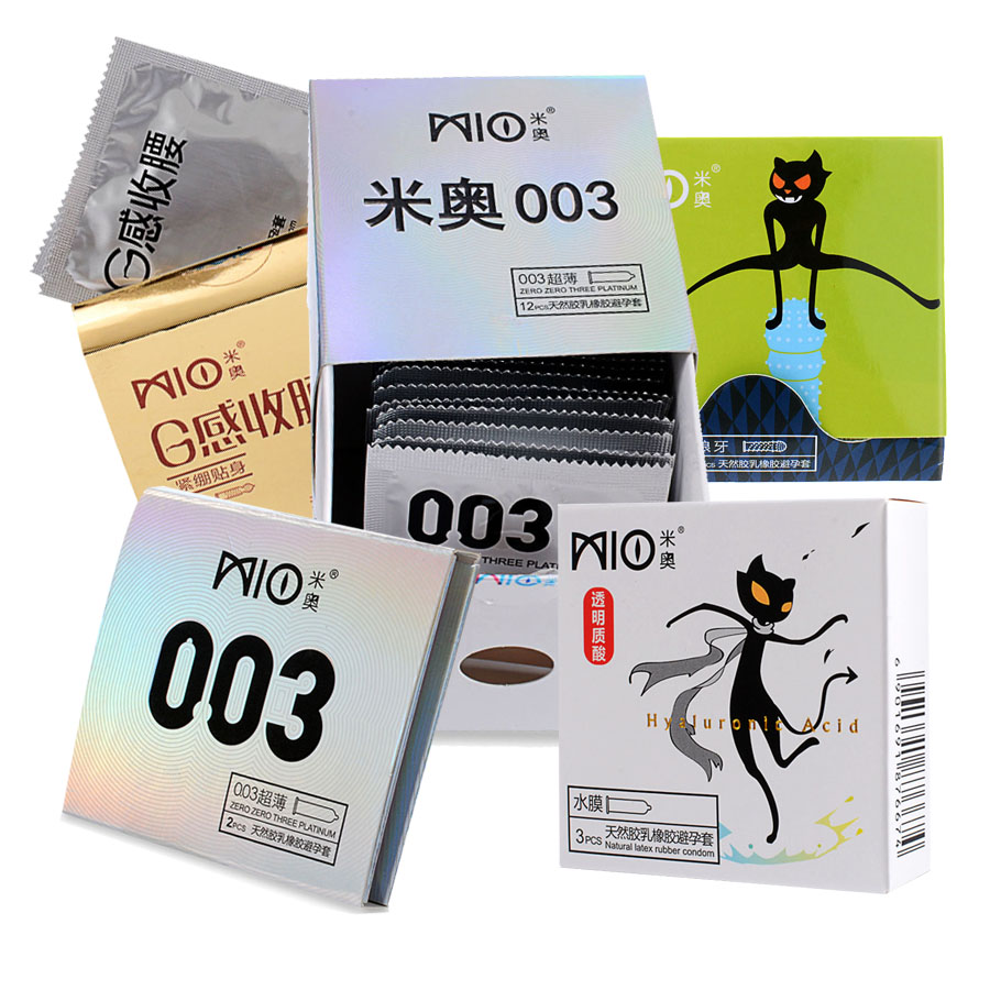 MIO 21Pcs Jasmine Flavor Ultra Thin Lubricated Condoms 5 Types Hyaluronic acid Dots Pleasure Sex Contraception Safer Products