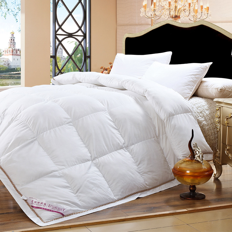 cotton fabric filled with 100 goose down warm silky winter three colors comforter twin queen. Black Bedroom Furniture Sets. Home Design Ideas