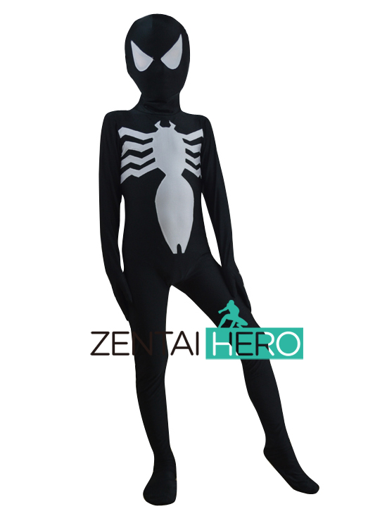 Free Shipping DHL NEW Children's Halloween Costume Lycra Venom Symbiote Costume Cosplay Kids Superhero Spiderman Costume XWHK06