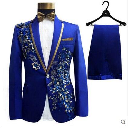 Erkek Kıyafeti'ten Blazerler'de LONMMY Düğün erkekler blazer slim fit Tavuskuşu çiçekler Pullu İşlemeli Takım Elbise erkek 2 parça/takım Ceket + Pantolon Tasarımları'da  Grup 3