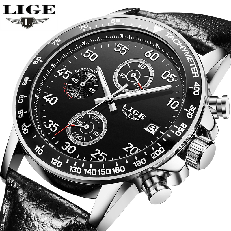 Relogio Masculino LIGE Watches Men Luxury Brand Six pin Military Sport Quartz Watch Men Waterproof Wrist watch Man leather Clock top brand luxury watch men full stainless steel military sport watches waterproof quartz clock man wrist watch relogio masculino