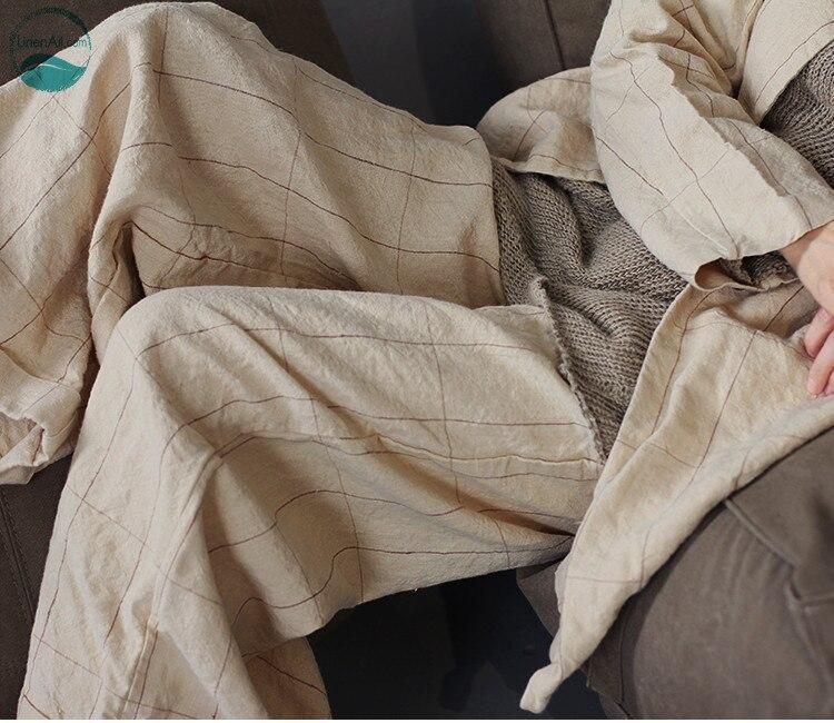LinenAll Original Women's Three Season 52%linen+48%hemp Original Color Of Hemp Plaid Elastic Waist Long Pants