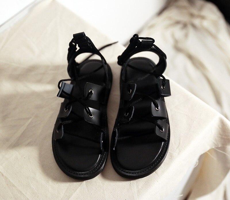 Casual Cheville D'été Cuir En La Stilettos Gladiateur Appartements Chaussures À Véritable Plage Bride Mujer Femmes Sandalias Dames Sandales Noir H1xBgq