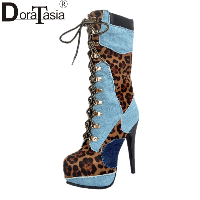 DoraTasia Brand Design Large Size 34-47 Mixed Color Women Shoes Thin High Heels Fashion Party Woman mid-calf Boots Platform doratasia 2017 large size 34 47 sexy riband over the knee thin high heels women shoes super high heel party boots woman platform