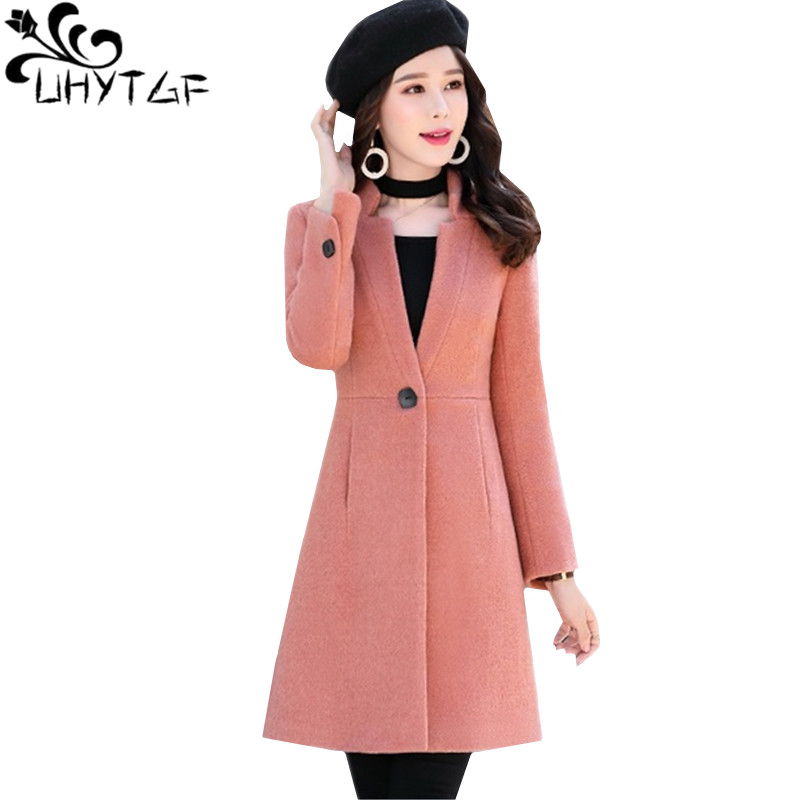 UHYTGF Casual winter jacket women fashion elegant woolen coat Standing collar Slim Plus size outerwear youth woman long coat1462-in Wool & Blends from Women's Clothing    1
