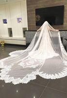 2018 реальные фотографии белый/слоновая кость 3,5 м свадебная вуаль кружева долго завеса собор свадебная фата аксессуары ВЭУ De Noiva EE302