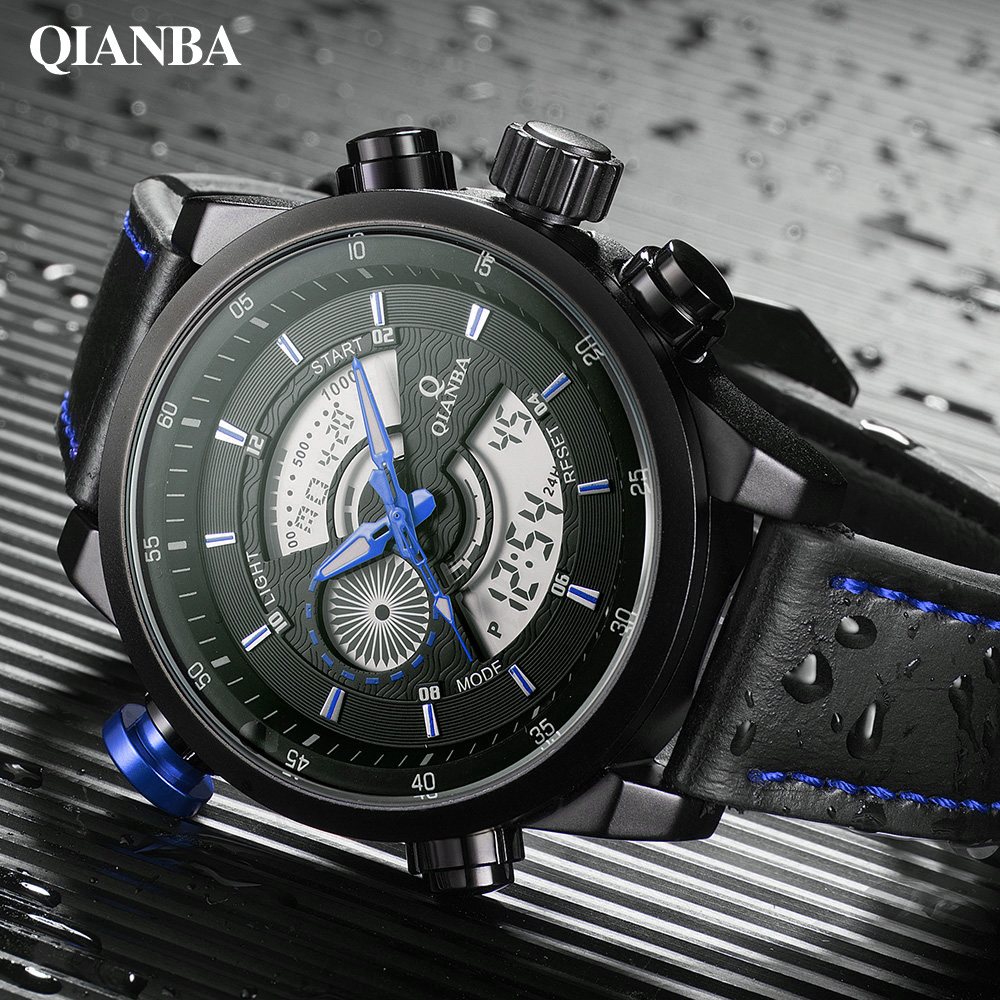 Men Top Luxury Brand Fashion Sport Watch Dual Time Chronograph Quartz Analog Digital LED Army Military Watches Relogio Masculino 2014 new arrival fashion men sports dual movement analog watches military quartz luxury fashion brand led watch 30m waterproofed oversize wristwatch red