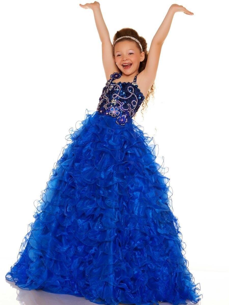 Новинка года; красивые платья с цветочным узором для девочек бальное платье с лямкой на шее; бусины Кристаллы с открытой спиной; праздничное платье из органзы на заказ для девочек - Цвет: Синий