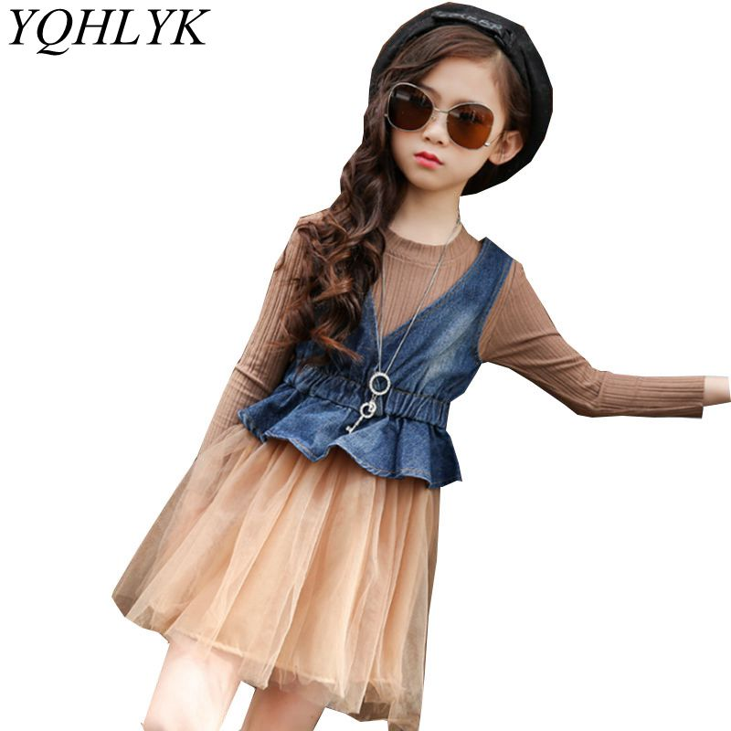 New Fashion Spring Autumn Girl Suit 2018 Korean Children Denim Vest + Lace Princess Dress Sweet Elegant Kids Clothes 2PSC W205 2017 new fashion spring autumn girls two pieces suit children coat princess dress suit korean leisure sweet kids clothes dc129