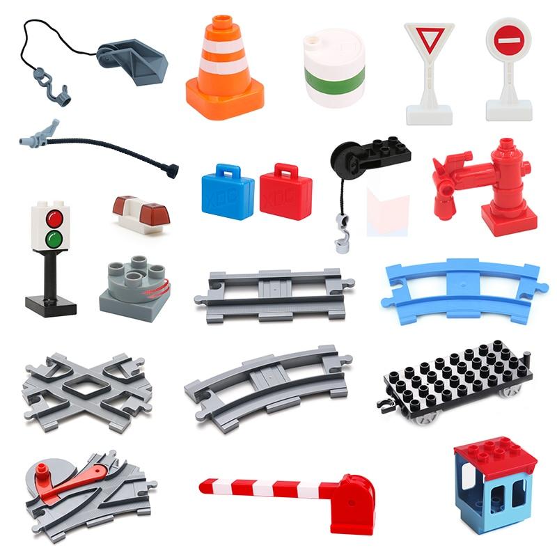 Vehicle Orbit Sets Bricks Railway Big Rail Building Blocks Trailer Accessory DIY Children Toys Compatible With Duplo Track Gift