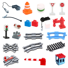 Vehicle orbit Sets Bricks Railway Big rail Building Blocks trailer accessory DIY Children Toys Compatible with Duplo track Gift