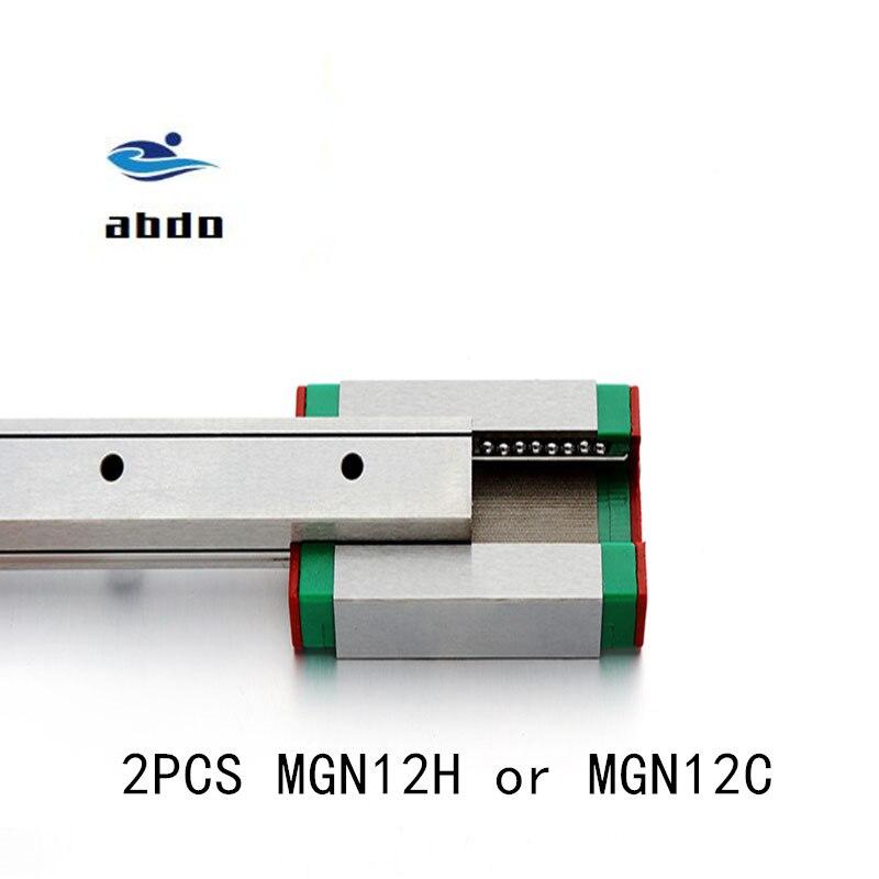 Hochwertige 2 stücke MGN12H MGN12C linear lager schiebe spiel verwendung mit MGN12 linear guide für cnc xyz diy gravur maschine
