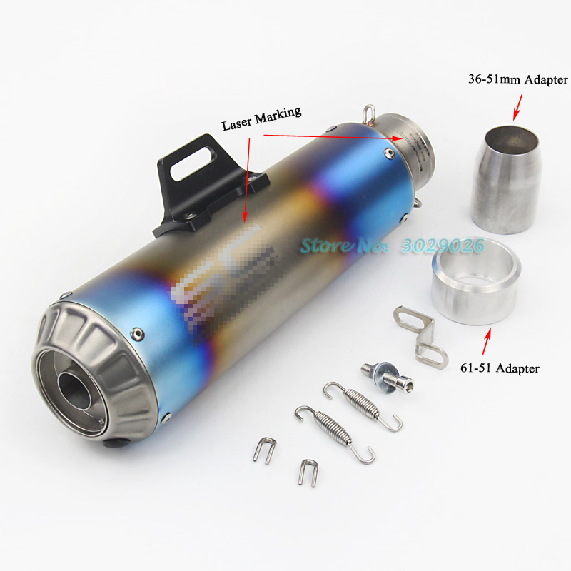 Inlet 60.5mm 51mm Universal Exhaust For Most Modified Motorcycle Muffler Pipe with DB Killer Laser Marking Bullet Shape Blue