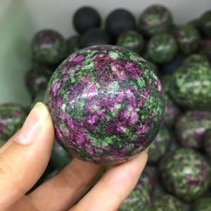 TOP!!! 40MM Natural Red green treasure Crystal Sphere Ball Healing(China)
