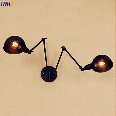 купить IWHD Black Vintage Wall Lamps 2 Heads Wandlampen Swing Long Arm Wall Light Stair Loft Industrial Edison Wall Sconce Arandela по цене 3889.46 рублей
