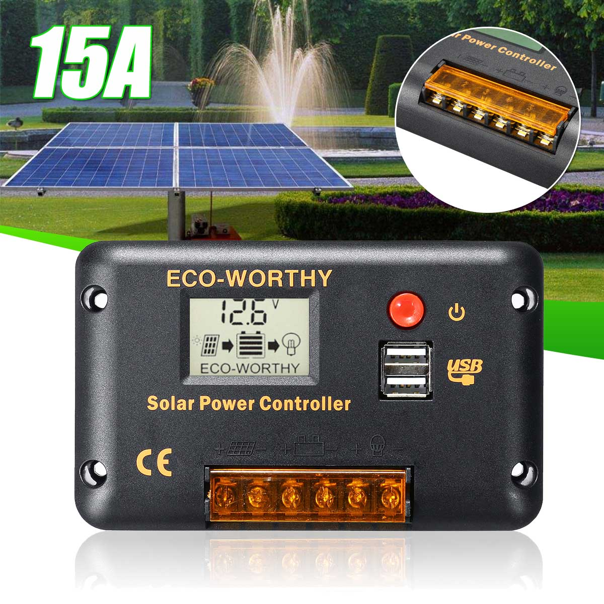 15A 12V/24V Auto Solar Charge Controllers With LCD Dual USB 5V Output Solar Cell Panel Regulator For PWM Solar Panel Water Pump