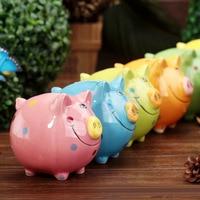Color Ceramic Smiley Pig Piggy Bank Children Coin Box Table Decoration Handicrafts Wholesale Desktop Decor Kids Toys Gift
