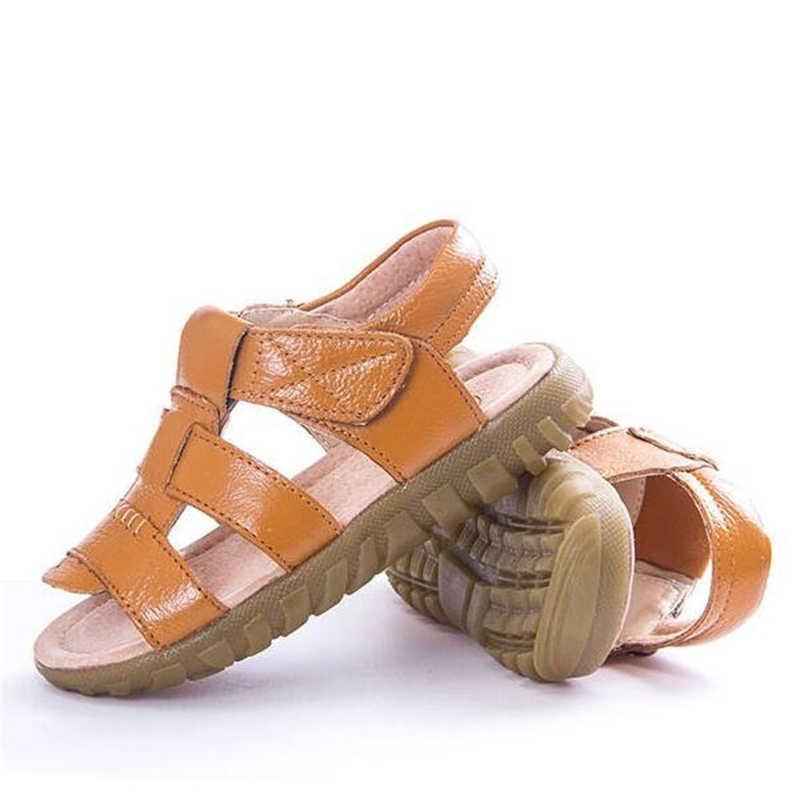 NIEUWE 2019 Echt leer Kinderen Sandalen Koe Spier Zool Zachte antislip Kids Strand schoenen Zomer Jongens Meisjes Sandalen 03 K