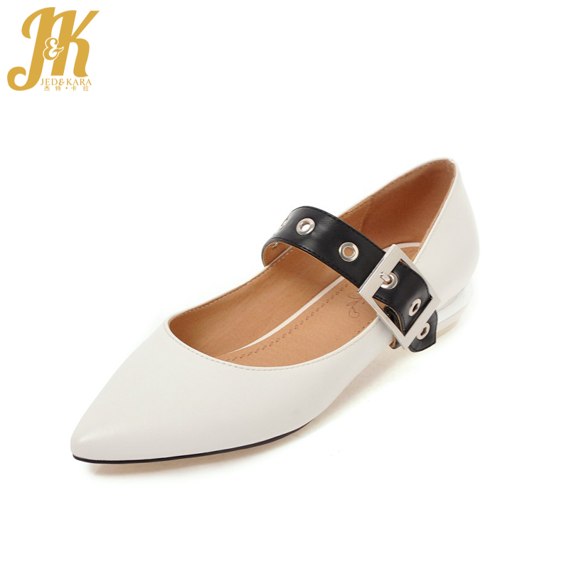 JK New Thick Heels Women Pumps Pointed Toe Shallow Buckle Stitching Female Shoes 2018 Brand Spring Fashion Office Ladies Shoes new 2017 spring summer women shoes pointed toe high quality brand fashion womens flats ladies plus size 41 sweet flock t179