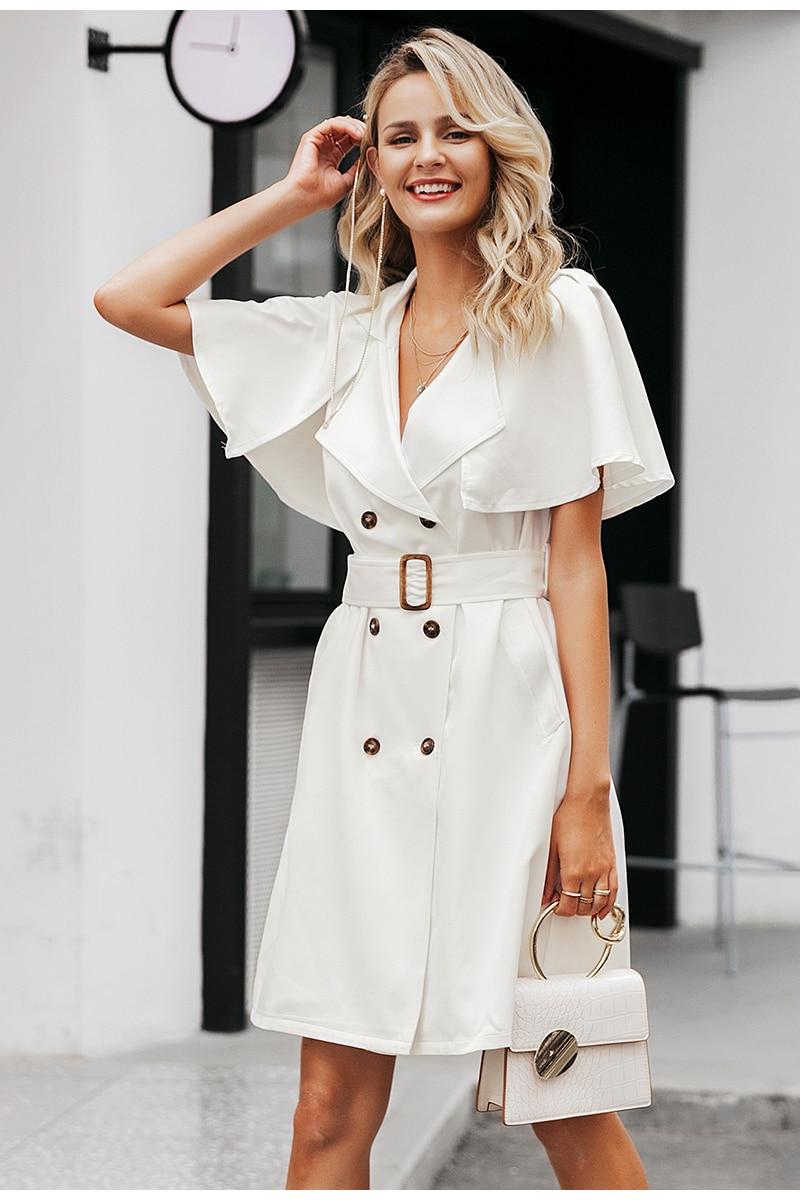 Simplee Solid ruffled sleeve women blazer dress Elegant sash belt office ladies trench dress V-neck shawl party dress vestidos 10