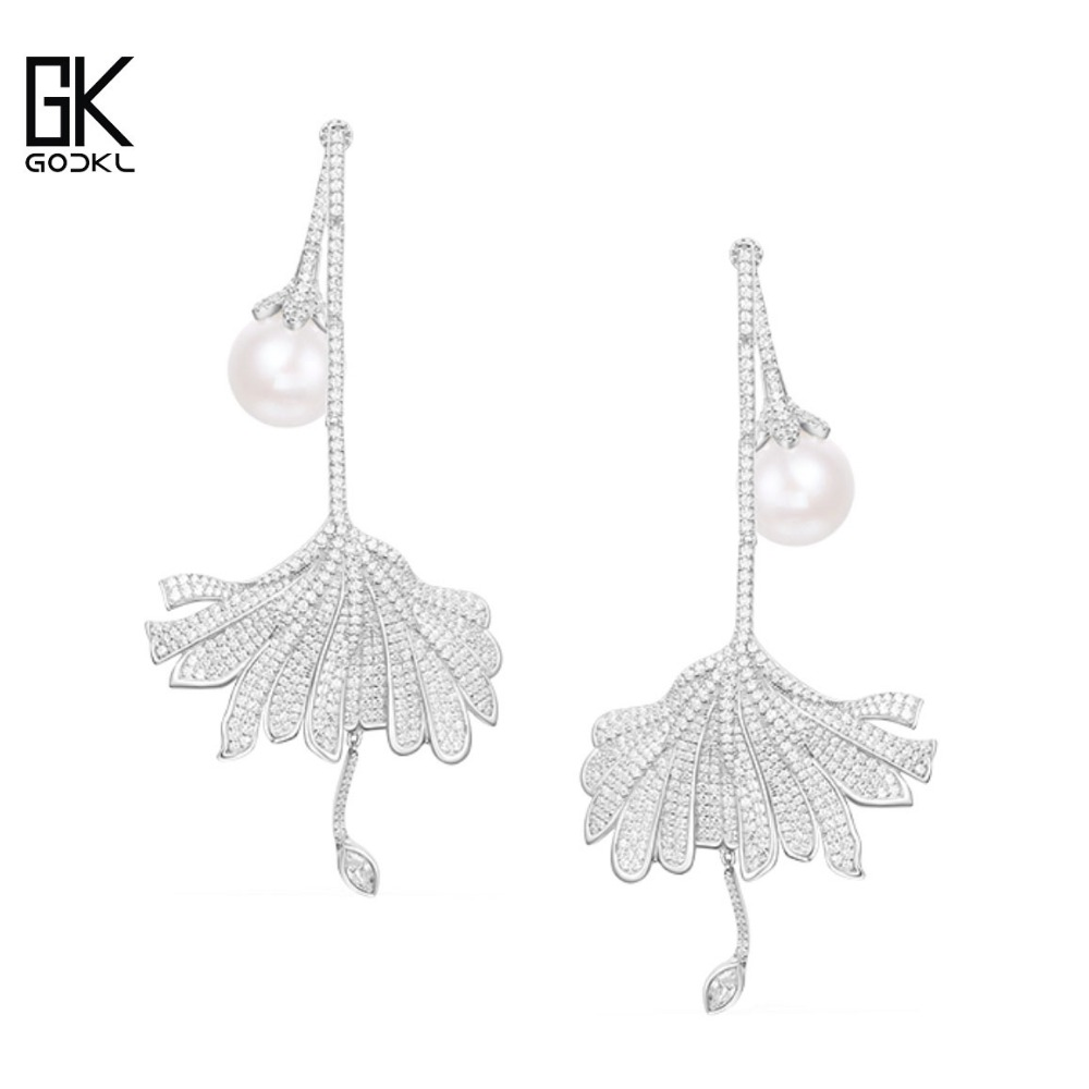 Image 3 - GODKI Luxury Imitation Pearl Long Dangle Earrings For Women Cubic Zirconia Crystal CZ Wedding Bridal Statement Drop Earring 2018Drop Earrings   -
