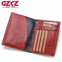 GZCZ Genuine Leather Women Wallet Female Passport Cover Card Holder Coin Purse Small Walet Clamp For