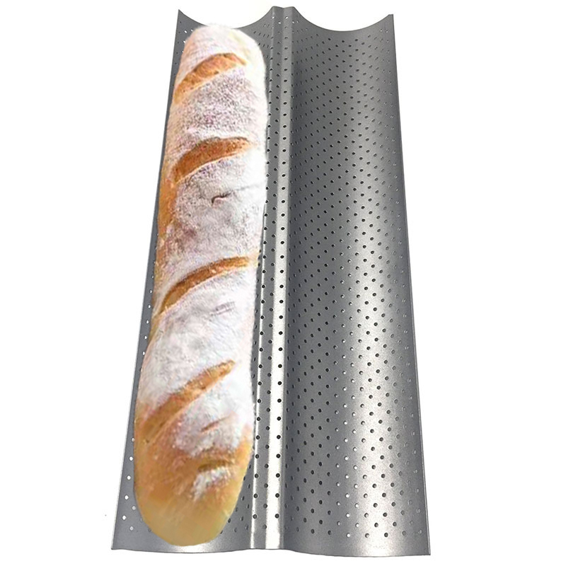 Non stick Perforated Baguette Pan French Bread Mold Wave Loaf