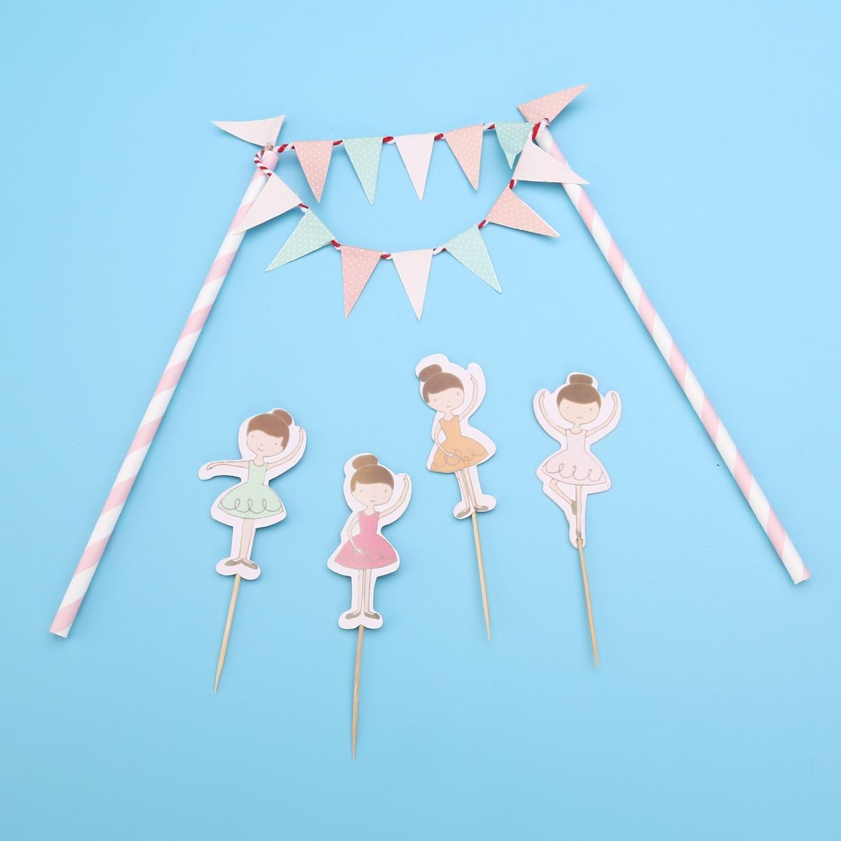 Ballet Dancer Birthday Cake Bunting Flag Topper Ballerina Toothpicks ...