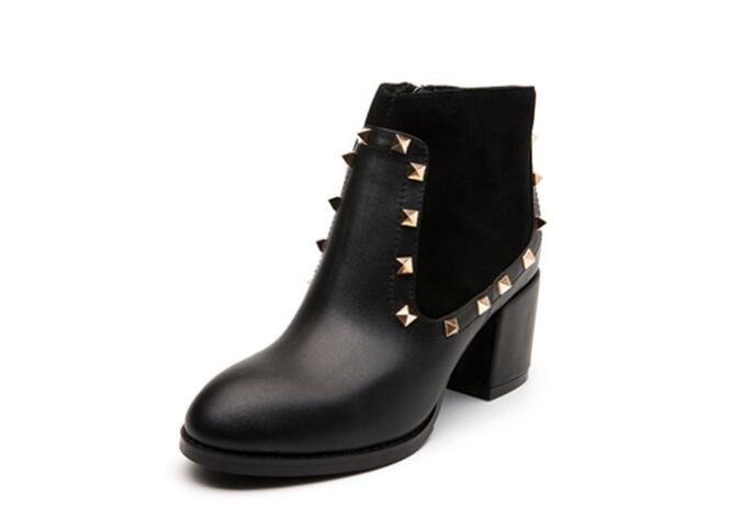 Zapatos Tobillo Remaches Dedo Cuero Basic Mujer Superior Negro 2019 Botas Invierno Del E Redondo De Genuino Con Pie Calidad Otoño nax74vX
