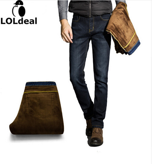 Mens  Warm  pants   denim  jeans size  Men's thick winter high-quality Winter Jeans
