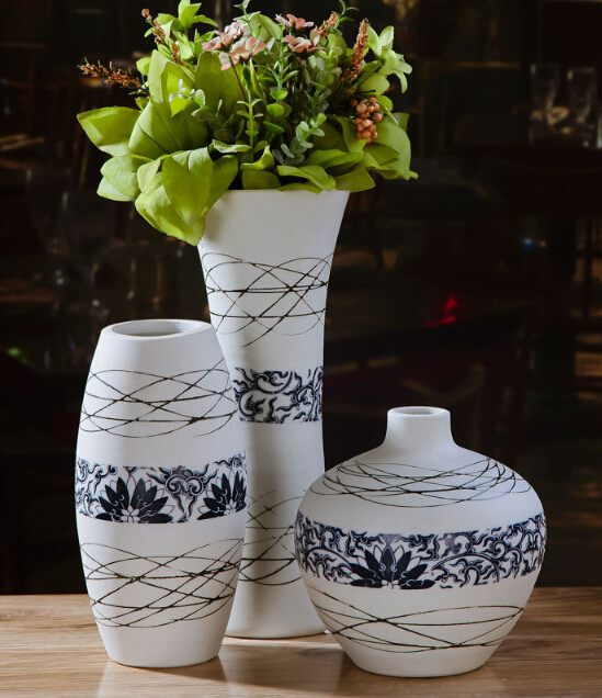 3 pcs set pastarol chinese blue and white ceramis flower vase sets for