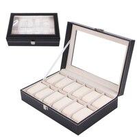 ZLIMSN 12 lattice high end case box black leather watch box jewelry box