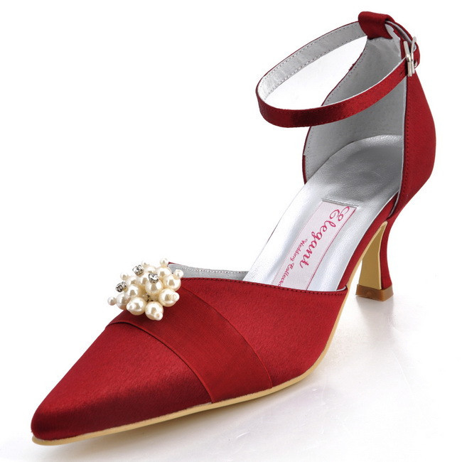 Women High Heel Shoes A711H Pointed Toe High Heel Ankle Strap Pearls Satin  Ladies Prom Party 2d62469ba19a