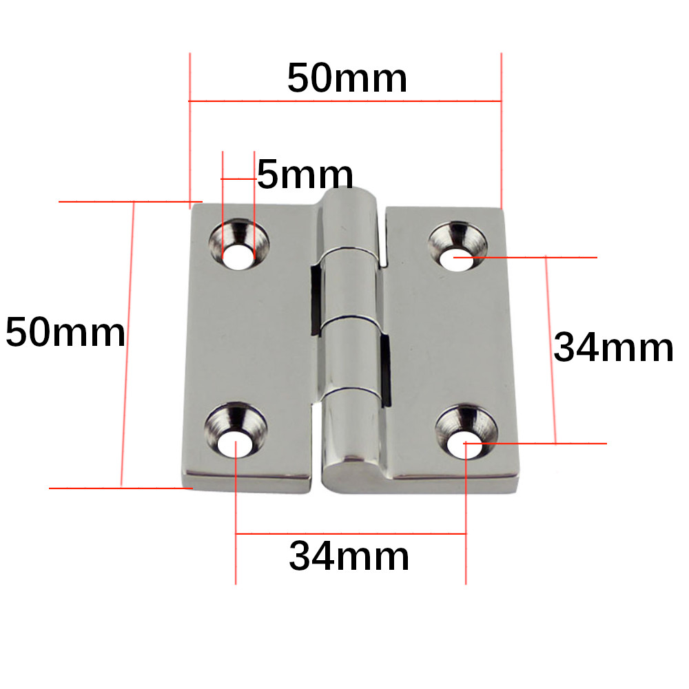Image 2 - 50*50mm Stainless Steel 316 High Mirror Marine Square Hinge Boat Door Hinge Top Mirror Polished Boat/Yacht Square Hinge 5PCS-in Marine Hardware from Automobiles & Motorcycles