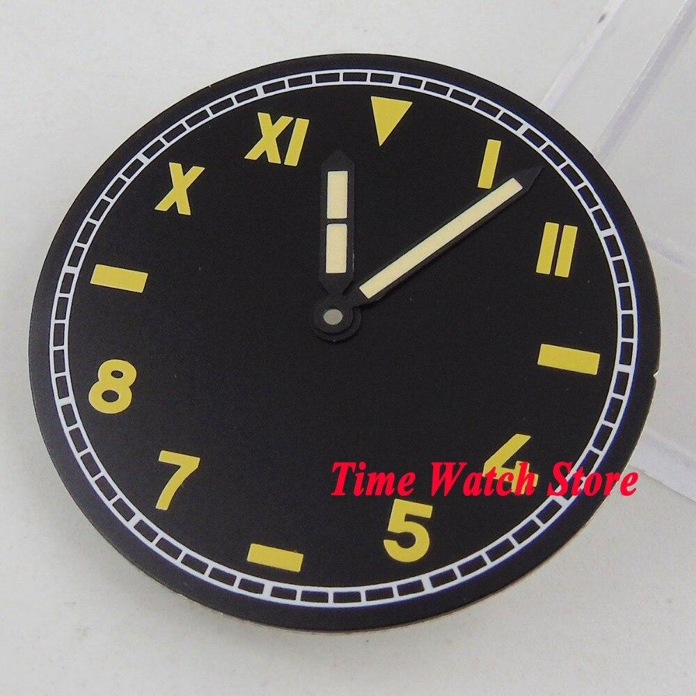 Uhren Hände D132 37,5mm Kein Logo Schwarz Kalifornien Zifferblatt Fit Mechanische Eta 6497 Bewegung Uhr Zifferblatt