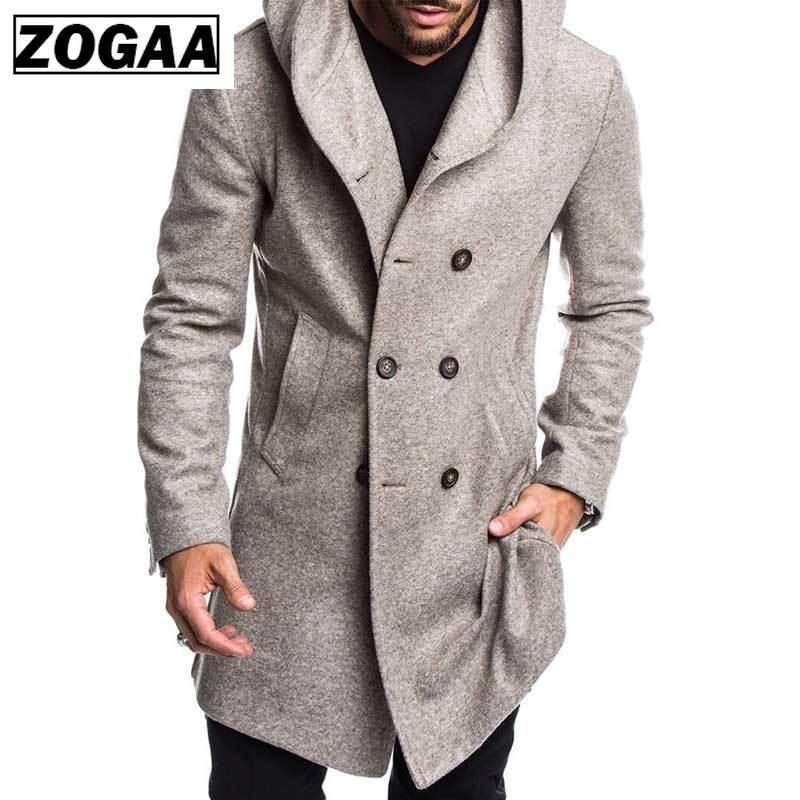 ZOGAA 2019 Mens Trench Coat Jacket Autumn Mens Overcoats Casual Solid Color Woolen Trench Coat For Men Clothing Long Coat Men