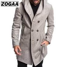 ZOGAA 2019 Mens Trench Coat Jacket Autumn Overcoats Casual Solid Color Woolen for Men Clothing long coat men
