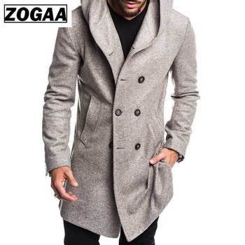 ZOGAA 2019 Mens Trench Coat Jacket Autumn Mens Overcoats Casual Solid Color Woolen Trench Coat for Men Clothing long coat men
