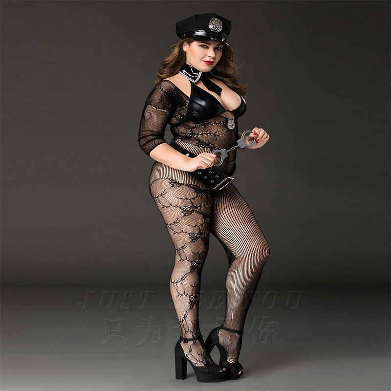 Yeni Porno Kadın Artı Boyutu Polis Cosplay Seksi PU Catsuit Lingerie Seksi Sıcak Erotik Siyah Bodysuit Erotik Iç Çamaşırı Porno Kostümleri