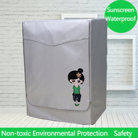 UV-resistant Cartoon Washing Machine Cover Waterproof Washer Machine Cloth Dust Proof Cover Case for Front Opening Oxford Cloth