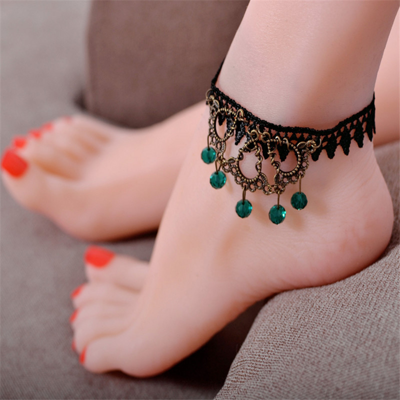 2017 Trendy Lace Ankle Bracelet Geometric Body Chain Green