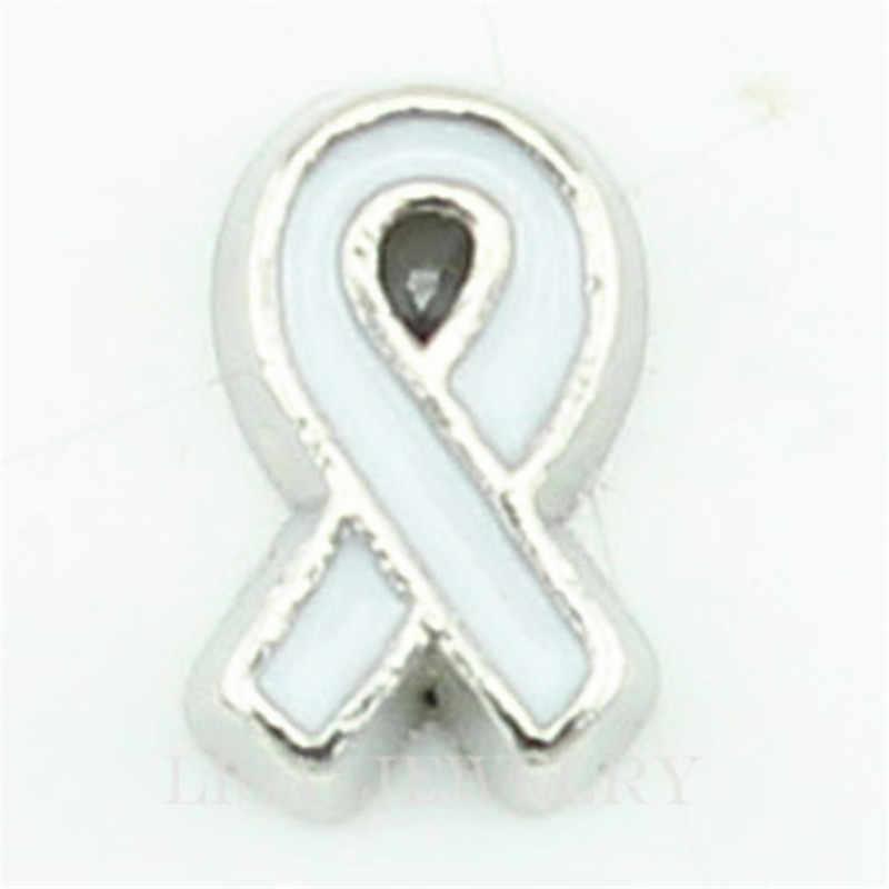 עיצוב חדש 10 יח'\חבילה לבן סרט סרטן שד קסם צף לתליון זכוכית סיטונאי