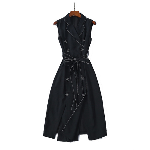 Brand Style 2018 Autumn Runway Women's Luxury Double Breasted Dress Office Lady Notched Collar Midi Dresses With Sashes Stitchin