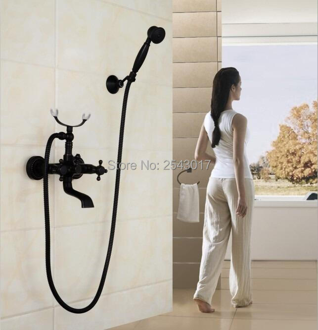 High Quality Black Shower Set Copper Brass Bathroom Bathtub Shower Mixer with Hand Shower European Style Swivel Crane ZR039 fashion europe style high quality brass