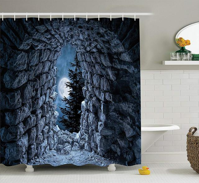 Gothic Shower Curtain Dark Cave With The Light Of Full Moon At Night Scary Horror Medieval Theme Artwork Bathroom