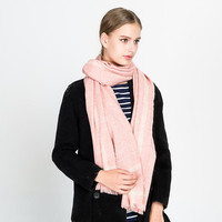 2018 Fashion Woman Pure Color Geometric Simple Style Faux Cashmere Scarves Winter Warm Street Fashion Shawl And Wraps Sky Blue