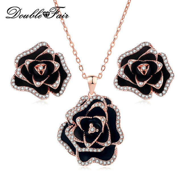 Top quality big black rose flower necklaceearrings crystal rose top quality big black rose flower necklaceearrings crystal rose gold color wedding cubic zirconia aloadofball
